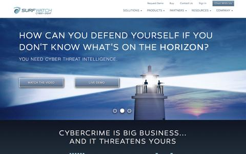 Screenshot of Home Page surfwatchlabs.com - Cyber Threat Intelligence Solutions - captured Feb. 24, 2016