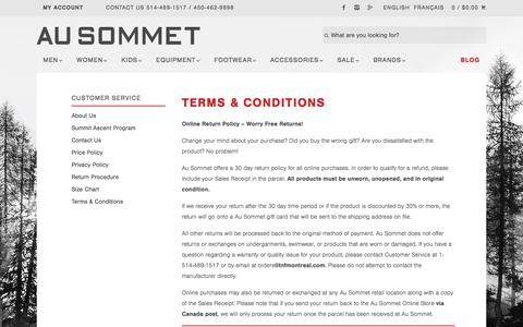 Screenshot of Terms Page ausommet.ca - Terms & Conditions – Au Sommet - captured Oct. 14, 2016