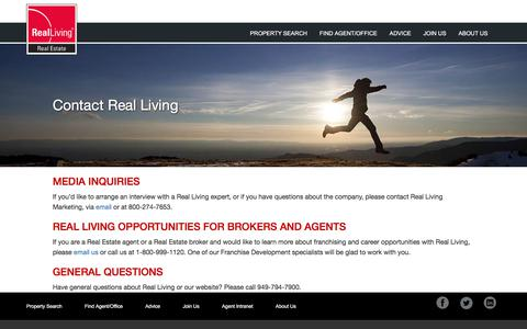 Screenshot of Contact Page realliving.com - Contact Real Living | Real Living Real Estate - captured Aug. 25, 2017