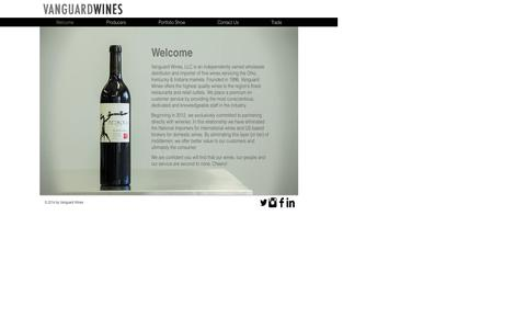Screenshot of Home Page vanguardwines.com - Vanguard Wines - captured Aug. 14, 2015