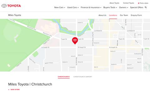 Screenshot of Locations Page toyota.co.nz - Miles Toyota | Christchurch - Toyota NZ - captured Oct. 20, 2018