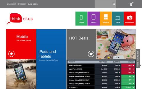 Screenshot of Home Page thinkofus.com.au - Shop Online for Mobiles, Tablets, Gadgets, Parts, Accessories and More at Think of Us - captured Aug. 4, 2015
