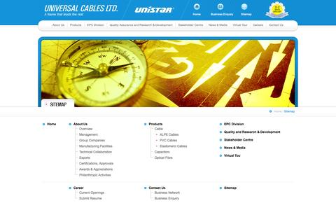 Screenshot of Site Map Page unistar.co.in - UNIVERSAL CABLES LTD. - captured Oct. 7, 2014