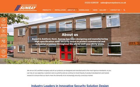 Screenshot of About Page sunraydoors.co.uk - High Specification Steel Security Doors | Kent | Sunray - captured Dec. 2, 2016