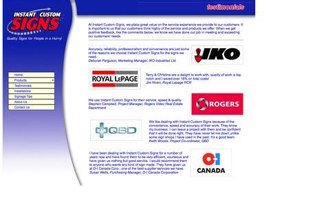 Screenshot of Testimonials Page icsigns.com - Instant Custom Signs - Testimonials - captured Oct. 6, 2014