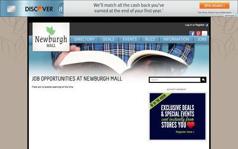 Screenshot of Jobs Page newburghmall.com - Newburgh Mall :: 1401 Route 300, Newburgh, NY. 12550 :: 845-564-1400 - captured April 2, 2017