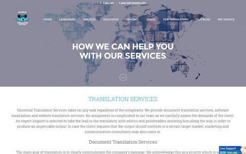 Screenshot of Services Page universal-translation-services.com - Document translation services   Website translation   UTS - captured Aug. 12, 2015