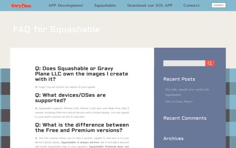 Screenshot of FAQ Page gravyplane.net - FAQ for Squashable | Gravy PlaneGravy Plane - captured Oct. 3, 2014