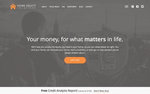 Screenshot of Home Page homeequitysolutions.ca - Home Equity Loan Vancouver | Second Mortgage Lender Vancouver, BC | Home Renovation Loan - captured Sept. 19, 2015