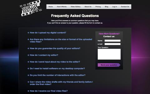 Screenshot of FAQ Page videotov.com - VideoTov: Video Editing Service   Turn Your Video Footage into Amazing Movies! - captured Oct. 7, 2014