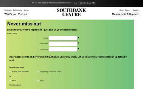 Screenshot of Signup Page southbankcentre.co.uk - Southbank Centre | Login - captured June 15, 2017
