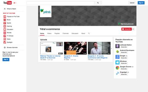 Screenshot of YouTube Page youtube.com - Ydral e-commerce  - YouTube - captured Oct. 27, 2014