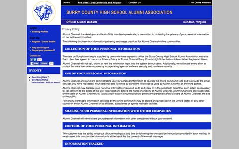 Screenshot of Privacy Page surryalumni.org - Surry County High School Alumni Association - Privacy Policy - captured March 4, 2016