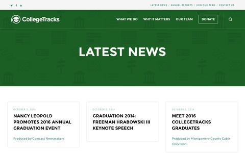 Screenshot of Press Page collegetracksusa.org - Latest News – CollegeTracks - captured Nov. 9, 2016