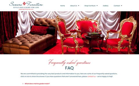 Screenshot of FAQ Page somersfurniture.com - FAQ | Somers Furniture - captured Sept. 21, 2018