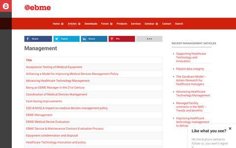 Screenshot of Team Page ebme.co.uk - Management articles - EBME Management - captured Sept. 30, 2018