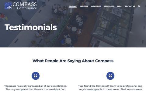 Screenshot of Testimonials Page compassitc.com - Testimonials - Compass IT Compliance - captured Feb. 19, 2019