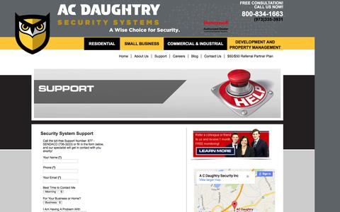Screenshot of Support Page acdsecurity.com - NJ Home & Business Security Systems, Fire Alarms and Energy Managememtacdsecurity.com - captured Feb. 4, 2016