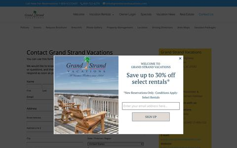 Screenshot of Contact Page grandstrandvacations.com - Contact Us - North Myrtle Beach Vacation Rentals | Grand Strand Vacations - captured July 23, 2018