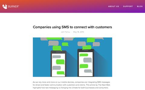 Screenshot of Blog burnerapp.com - Companies using SMS to connect with customers — Burner: Free Phone Number, Temporary Disposable Numbers - captured May 21, 2018