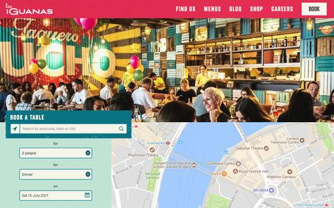 Screenshot of Home Page iguanas.co.uk - Las Iguanas | South American Restaurant & Bar - captured July 15, 2017