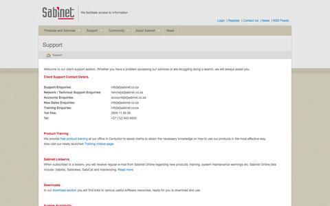 Screenshot of Support Page sabinet.co.za - Sabinet - Support - captured Sept. 24, 2014