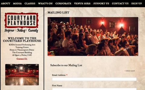 Screenshot of Signup Page courtyardplayhouse.com - MAILING LIST - The Courtyard Playhouse The Courtyard Playhouse - captured Oct. 22, 2017