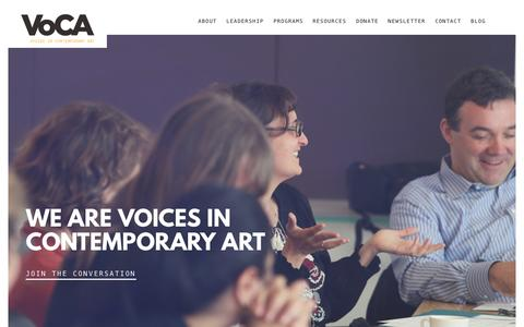 Screenshot of Home Page voca.network - VoCA | Voices in Contemporary Art | Welcome! - captured Oct. 8, 2015