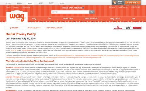 Screenshot of Privacy Page wag.com - Legal: Wag.com - captured Aug. 21, 2016