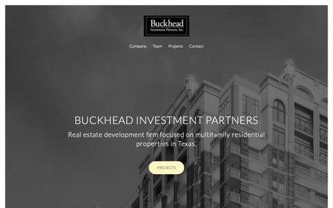 Screenshot of Home Page About Page Contact Page Team Page buckfund.com - Buckhead Investment Partners, Inc. - Multifamily real estate development in Texas. - captured Oct. 7, 2018