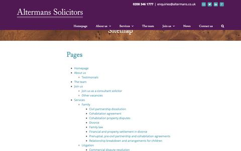 Screenshot of Site Map Page altermans.co.uk - Sitemap - Altermans Solicitors - captured Oct. 3, 2018