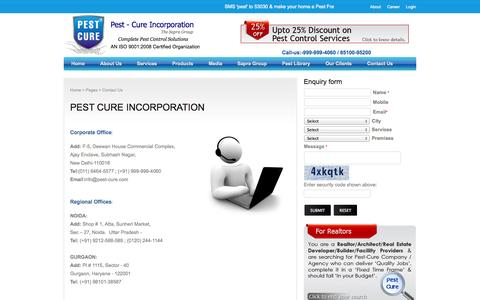 Screenshot of Contact Page pest-cure.com - Pest-Cure:, deals for pest control, deals in pest control, pest control deals - captured Oct. 2, 2014