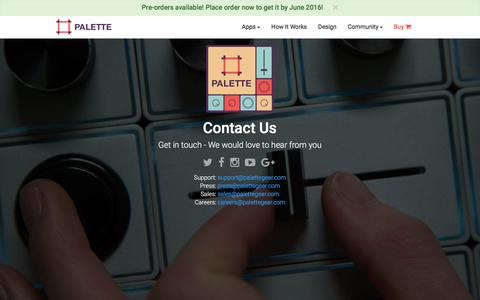 Screenshot of Contact Page palettegear.com - Palette - Contact - captured Feb. 18, 2016