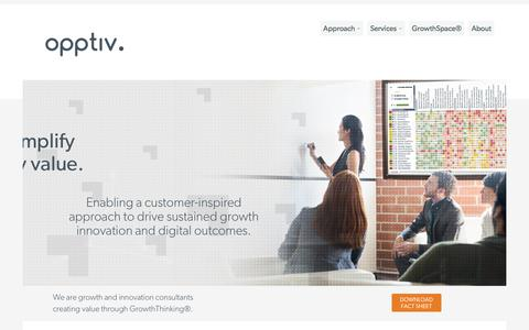 Screenshot of Services Page opptiv.com - Growth & Innovation Consulting Services  | Opptiv.  |  Growth & Innovation Consulting Firm  |  Customer Needs Mapping. - captured July 7, 2017