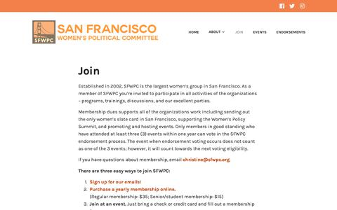 Screenshot of Signup Page sfwpc.org - Join – San Francisco Women's Political Committee - captured Oct. 2, 2018