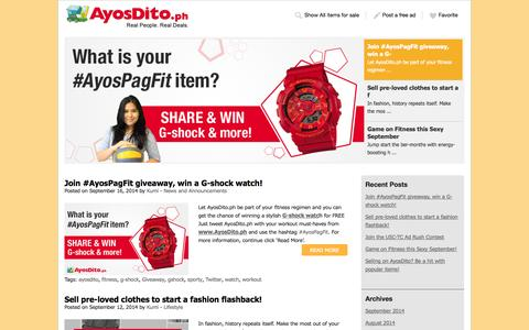 Screenshot of Blog ayosdito.ph - Buy and Sell Nation | The AyosDito.ph Official Blog. - captured Sept. 18, 2014