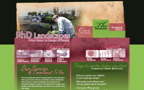 Screenshot of Home Page phdlandscapes.com - PhD Landscapes | Mineola West, Mississauga Professional Landscaping From Concept, to Design, to Reality - captured July 13, 2016