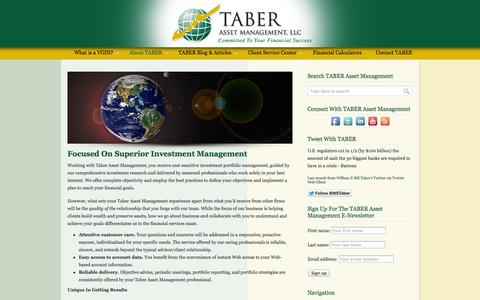 Screenshot of About Page taberasset.com - About TABER Asset Management - TABER Asset Management - Des Moines Based Registered Investment Advisory Firm - captured Oct. 7, 2014