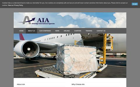Screenshot of About Page aiacargo.com - About Us - Airbridge International Agencies - captured Nov. 12, 2018