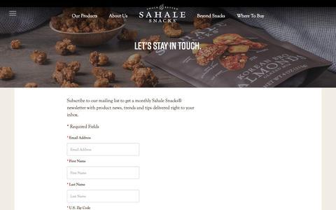 Screenshot of Signup Page sahalesnacks.com - Newsletter Sign-Up | Sahale Snacks® - captured May 18, 2019