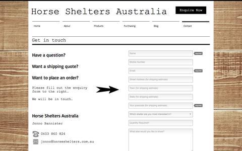 Screenshot of Contact Page horseshelters.com.au - Horse Shelters Australia | Contact Us - captured Nov. 12, 2016