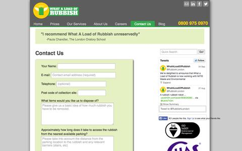 Screenshot of Contact Page whataloadofrubbish.com - Contact Us | What a Load of Rubbish | London, UK - captured Oct. 9, 2014