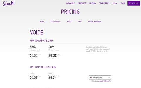 Screenshot of Pricing Page sinch.com - Voice Pricing | Sinch - captured Dec. 16, 2015