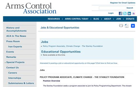 Screenshot of Jobs Page armscontrol.org - Jobs & Educational Opportunities | Arms Control Association - captured Aug. 27, 2016