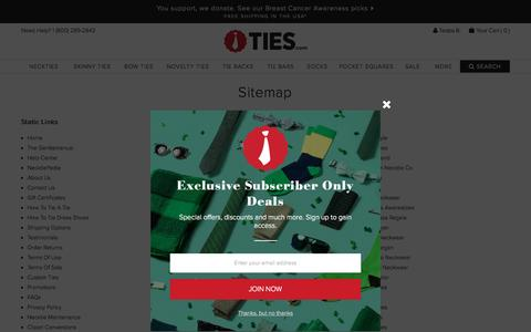 Screenshot of Site Map Page ties.com - Site Map | Ties.com - captured Oct. 2, 2015