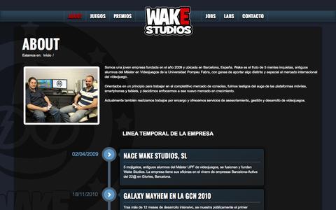 Screenshot of About Page wake-studios.com - About | Wake Studios Desarrollo de Videojuegos Barcelona - captured Nov. 5, 2014