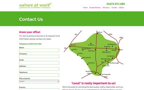 Screenshot of Contact Page nature-at-work.co.uk - Contact Nature at Work for the best plants for your office — Nature at Work - captured Dec. 1, 2016