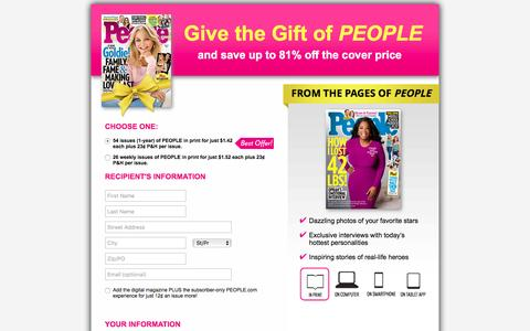 Screenshot of Landing Page people.com - Give the Gift of PEOPLE - captured May 17, 2017