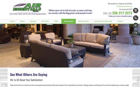 Screenshot of Testimonials Page airessentials.com - Air Ducts-Madison, AL-Air Essentials Inc. - captured Oct. 7, 2017