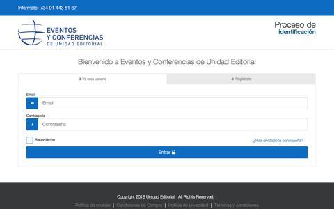 Screenshot of Login Page escuelaunidadeditorial.es - Panel de control y pasarela de pago - Eventos y Conferencias de Unidad Editorial - captured July 20, 2018